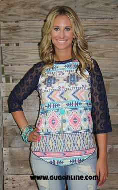 Forever Young Aztec Baseball Tee with Navy Crochet Sleeves $24.95 Small-3XL www.gugonline.com