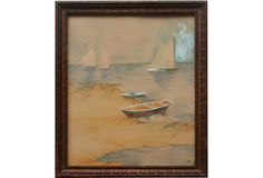 Boat Painting on OneKingsLane.com. Original vintage art, from Anna Hackathorn Interior Design.