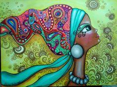 Vibrant Artwork By Romi Lerda Pop Art, Art Fantaisiste, Portrait Cartoon, Diamond Drawing, Art Populaire, Inspiration Art, Illustration, Whimsical Art, Medium Art