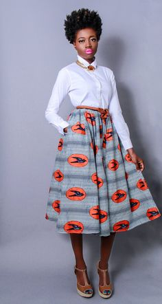 NEW The Shavon -African Print 100% Holland Wax Cotton Midi Skirt <- love the skirt. Need a diff blouse