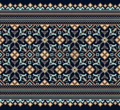 Illustration of Vector illustration of ukrainian folk seamless pattern ornament. vector art, clipart and stock vectors. Palestinian Embroidery, Hungarian Embroidery, Folk Embroidery, Embroidery Stitches, Embroidery Patterns, Cross Stitch Borders, Cross Stitch Designs, Cross Stitch Patterns, Bordado Popular