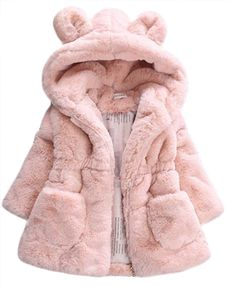 Winter Baby Girl Clothes Faux Fur Fleece Coat Pageant Warm Jacket Xmas Snowsuit size 1-2T (Pink). ❤Material: Cotton and faux fur,Soft and Warm. ❤Style: Cute Cartoon Ear Design,Hooded,Fur Fleece,Thicken Warm,Make Your Kids Baby More Adorable. ❤Absolute Easiest Way To Dress A Baby,Keeps Your Little One Covered, Comfy and Warm. ❤Ideal For Christenings, Weddings and Any Occasion Where You Want Your Little Girls Looking Beautiful. ❤Including: 1*Kids Girls Winter Warm Fur Warm Jackets.