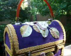 Romantic Vintage Applique Flower Velvet  Box Bag
