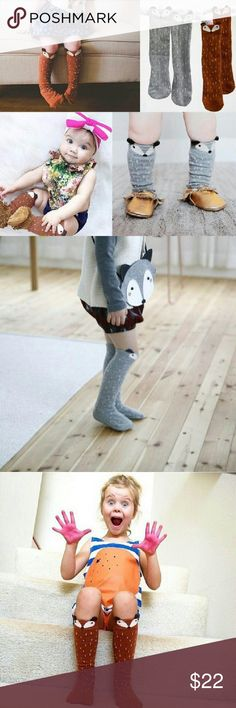 Cute Fox Knee High Socks These are unique and very cute cotton fox knee high socks !! They are for ages 1-3 and for boy or girl!! Its certainly adorable for your baby !! Its about 27cm long and the 2 colors are Gray and Coffee !! Accessories Socks & Tights