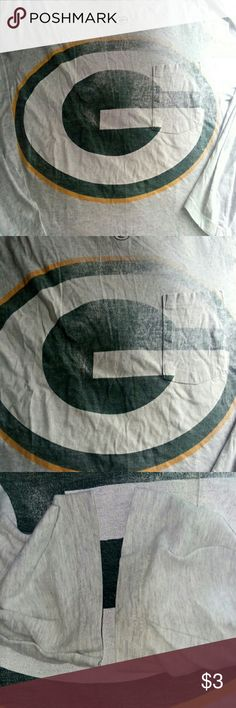 "FREE!!! Greenbay Packers Longsleeve Tshirt (lg) Free long sleeve grey Greenbay Packers T-shirt w any purchase.  There literally NO Stains!! But as u can clearly see the huge ""G"" is quite faded. This is an adults Large. Also has a handy upper front pocket!! Great work shirt. $3 or free w any purchase NFL Tops Tees - Long Sleeve"