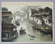 Contemporary-Shen-Min-Yi-Chinese-Woodblock-Print-Boat-in-Canal-6-200