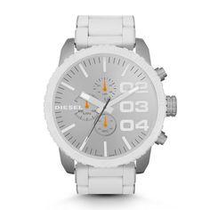 Diesel Men's Franchise-51 DZ4253 white Silicone Strap watch. CASE SIZE: 58.2 mm x 51.9 mm CASE THICKNESS: 11.9 mm LUG WIDTH: 26 mm WATER RESISTANT: 5 ATM PACKAGING: Diesel Watch Box WARRANTY: 2 Year International