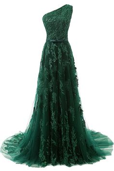 A-Line One-Shoulder Sweep Train Dark Green Tulle Prom Dress with Appliques Beading