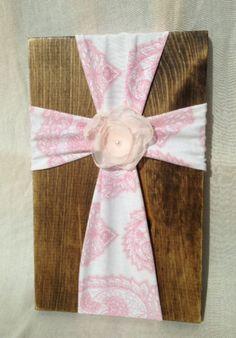 Wood cross, fabric cross, rustic home decor, rustic cross, baby girl,christening gift, pink nursery, embellished cross, baptism gift by Justasmalltowngirlx2 on Etsy