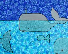Whale and Blue Baby reproduction print by AliceinParis on Etsy