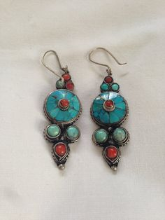 Handmade Silver earrings with Turquoise & Coral by MAZANSIVINTAGE, $70.00