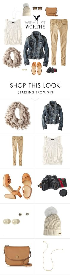 """Winter Wanderlust with American Eagle: Contest Entry"" by jill-hammel ❤ liked on Polyvore featuring American Eagle Outfitters, Burberry, Tory Burch, Wish by Amanda Rose and Coach"