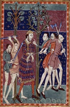 Today in 868 the Saxon King of East Anglia - St Edmund - was killed by Vikings who tied him to a tree, shot him with arrows, and then beheaded him. His body is buried at Bury St Edmund's in Suffolk Anglo Saxon History, European History, Art History, Ancient History, Ancient Aliens, British History, American History, Medieval Life, Medieval Art