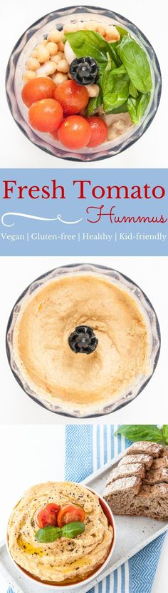 Fresh Tomato Hummus Recipe - Kid-friendly hummus and super delicious as a dip or spread. Only healthy, clean-eating ingredients! | VeganFamilyRecipes.com | #vegan