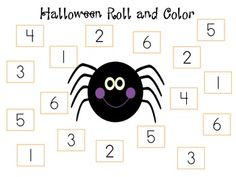 FREE - Halloween Roll & Color - 3 different worksheets (color & black/white versions)