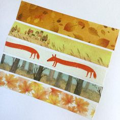 Washi Tape Fall Autumn Leaves Fox Trees Thanksgiving
