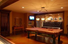 Billards, pool table, tufted corner bench