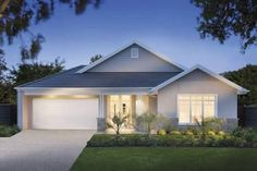 Rhode Island facade of the Vancouver - 4 Bedroom, 3 Living, 2 Bathroom, 2 car Single Storey house design to suit block size, 29 or… D House, Story House, Facade House, House Front, House Facades, Facade Design, Roof Design, Exterior Design, Die Hamptons