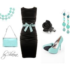 A little black dress with Tiffany blue accents... Can't go wrong here!! Classy:)