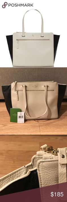 Kate Spade Matthew Drive Holland Handbag Gently used. Slight wear (see photo) but very clean. Comes with original tag, care card, and dust bag. Features one outside pocket with zipper, two large zippered compartments, and magnetic closure. Interior features black and white pinstripe design, one zipper compartment, and two pouch compartments. Ends of bag can be tucked in or out using magnetic closure. kate spade Bags Shoulder Bags