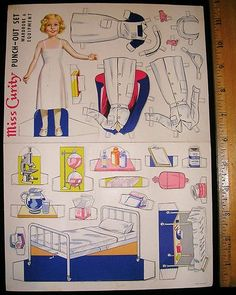 Vintage Miss Curity Punch Out Paper Doll with Nurse Uniforms