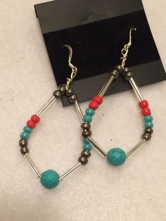 Turquoise and Coral Beaded Hoop Earrings30% OFF at https://www.etsy.com/your/shops/PCMRNTREASURESJEWELS/coupons?ref=seller_platform_hdr#PCMRNTREASURES