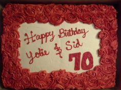 sheet cake with rosettes