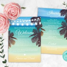 Beach Wedding Itinerary Corjl Template Wedding Welcome | Etsy Digital Invitations, Printable Invitations, Party Invitations, Wedding Schedule, Wedding Planner, Fun Party Themes, Wedding Timeline, Save The Date Postcards, Wedding Invitation Sets