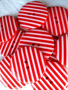 Cute red & white striped buttons. Cute for Christmas or 4th of July.