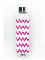Chevron 18oz Glass Water Bottle in PINK by GlassicBottles. All Glassic bottles are Shatter-Safe coated so they are 7x more durable than regular glass. If they do break the glass pieces are all contained! Practical AND cute!