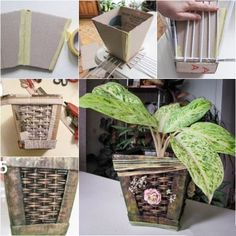 DIY woven/weaving retro paper planter from cardboard and newspaper tutorial, instruction.  Follow us: http://on.fb.me/1rWIbQo