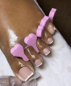 Gel Toe Nails, Acrylic Toe Nails, Pink Toe Nails, Classy Acrylic Nails, Short Square Acrylic Nails, Pretty Toe Nails, Toe Nail Color, Drip Nails, Cute Toe Nails