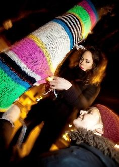 Yarn bombing: Trees in #Hackney's Mare Street get a woolly makeover #street #craft