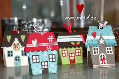 A cute little festive village gift box. Template available as Silhouette Studio file and PDF.
