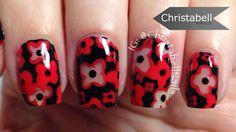 Remembrance Day – Negative Space Poppy Nail Design