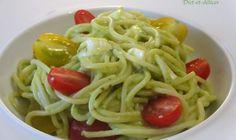 Spaghetti sauce à l'avocat, tomates cerises et mozzarella : Diet & Délices - Recettes dietétiques Guacamole, Mozarella, Cannelloni, Spaghetti, Vegetarian, Ethnic Recipes, Vegan, Food, Ravioli