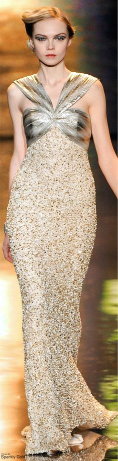 Badgley Mischka ~ Fall Beaded Gown w Silver + Gold Halter Bodice 2011