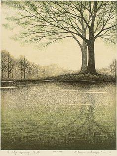Inagaki Akemi (稲垣朱実, Japanese, b.1933) | Early Spring - woodblock print
