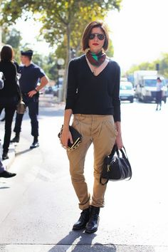 Emily Weiss in Balenciaga vintage trousers, Joseph sweater, Reed Krakoff bag, Zara shoes.