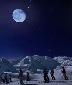 Moonlight Skiing in St. Moritz, Switzerland at Diavolezza.  4 nights a year you can ski by the light of the moon.