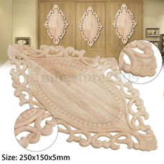 Home & Garden Precise 8*8cm Wood Carving Corner Onlay Applique Resin Unpainted B2-2