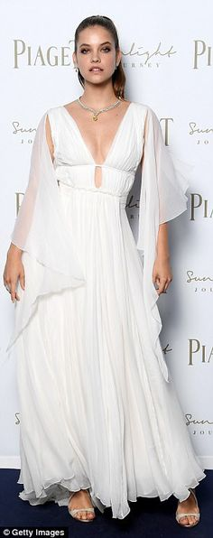 Greek goddesses! Barbara Palvin and Shanina Shaik showcase their stunning figures in plunging Grecian-inspired gowns at jewelery launch in Rome