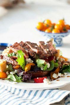 Grilled balsamic portobella  and steak salad