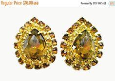 Earrings Brown yellow Rhinstone Pear shape clip on earrings