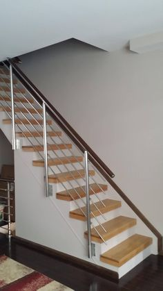 Modern Staircase Design Ideas - Modern stairs can be found in lots of design and styles that can be actual eye-catcher in the various area. We have actually compiled best 10 modern designs of stairs that can offer. Modern Stair Railing, Stair Railing Design, Metal Stairs, Staircase Railings, Staircase Ideas, Banisters, Painted Stairs, Interior Stairs, Home Interior