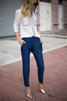 46 Stylish Navy Pants Work Outfit to Try fashion # 46 Stylische Navy-Hosen zum Ausprobieren mode # try Mode Business Mode, Business Fashion, Business Wear, Summer Business Attire, Business Style, Business Casual Outfits, Professional Outfits, Chic Outfits, Smart Business Casual