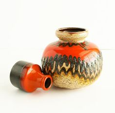 Scheurich Fat Lava Pottery Vase West Germany / Orange Black Lava Cream / As Seen in Atomic Ranch Magazine! / Groovy Mid Mod Midcentury 1960s