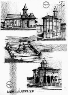 Architecture Romania c. by dedeyutza on DeviantArt Rome Architecture, English Architecture, Architecture Drawings, Architecture Portfolio, Historical Architecture, City Sketch, Building Sketch, Sketches Of People, Perspective Drawing