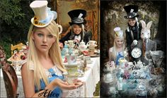 mad hatter tea party - ideas for adult or childs party.  Love it.  (There is also a link to a queen of hearts party)