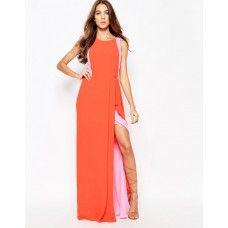 BCBGMAXAZRIA Maxi Dress with Contrast Ruffle Detail
